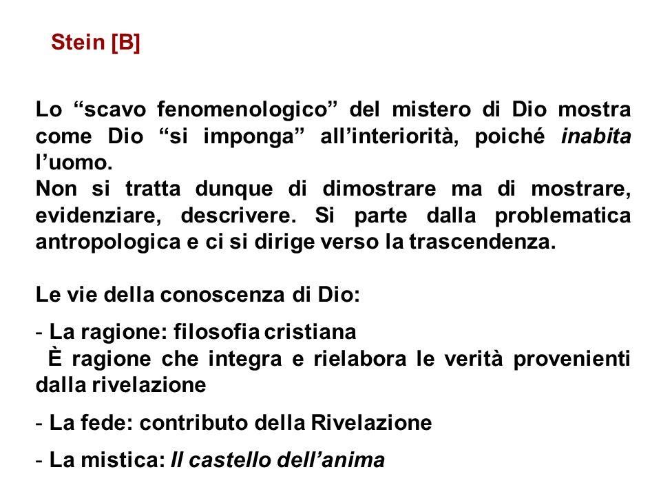Stein [B] Lo scavo fenomenologico del mistero di Dio mostra come Dio si imponga all'interiorità, poiché inabita l'uomo.